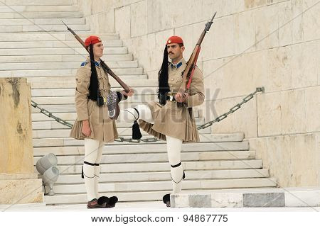 Athens, Greece, 30 May 2015. Evzones guard change in front of parliament of Greece.