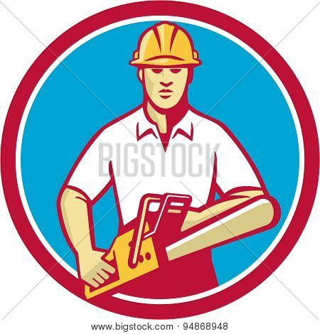 Tree Surgeon Holding Chainsaw Circle Retro