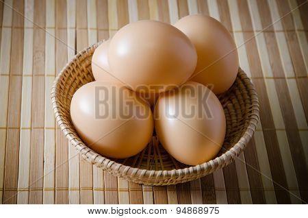 Farm Fresh Chicken Eggs In A Basket