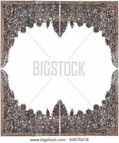 Traditional Thai Style Wood Carving Isolated On White
