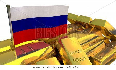 Russian national economy concept with gold bullion