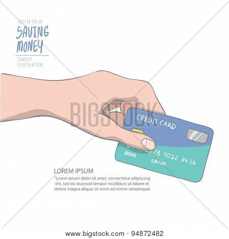 A Hand Holding Credit Card To Spend. Drawing Paint Flat Vector.