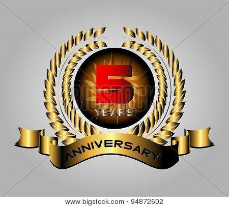 Celebrating 5 Years Anniversary - Golden Laurel Wreath Vector