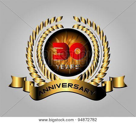 Celebrating 30 Years Anniversary - Golden Laurel Wreath Vector