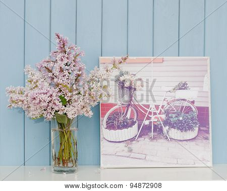 Poster With Bicycle - Flowerbed And Bunch Of Lilac