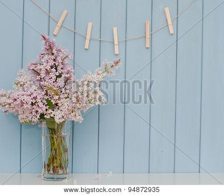 Clothespins And Bunch Of Lilac