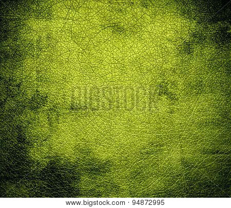 Grunge background of android green leather texture
