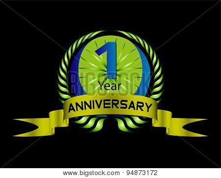 Green vintage anniversary message emblem. Retro vector background.