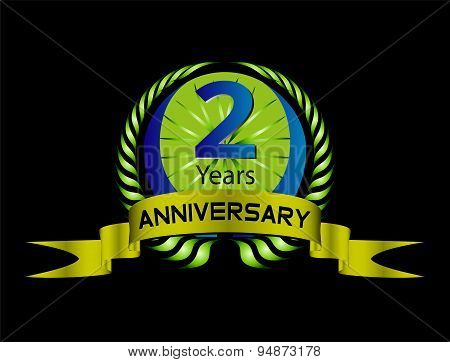 Green vintage anniversary message emblem. 2 years