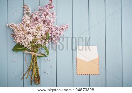 Vintage Postage Envelope And Summer Bouquet Of Lilac