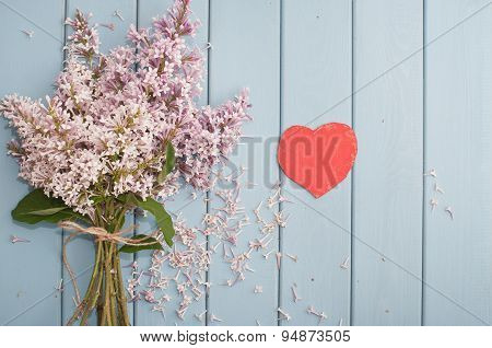 Red Heart And Flowers