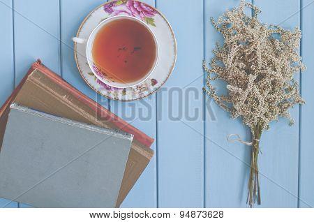Tea, Books And Flowers