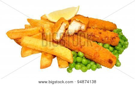 Breaded Fish Sticks And Chips Meal