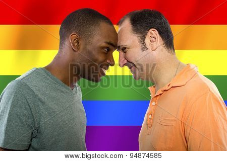 Gay Couple with Rainbow Flag