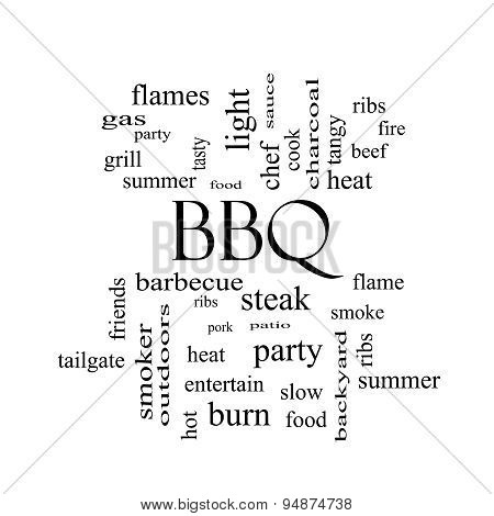 Bbq Word Cloud In Black And White