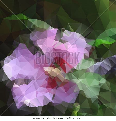 Lace pink flower with polygons for design