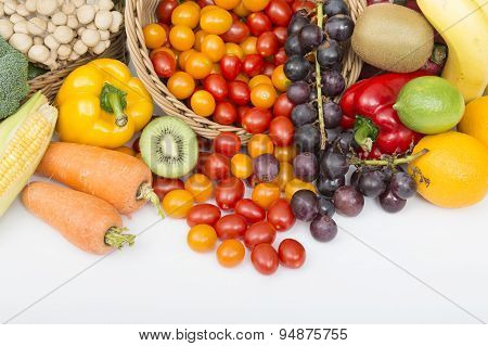 Fruit. Glasses of fruit and vegetable juice with fruits on a white background