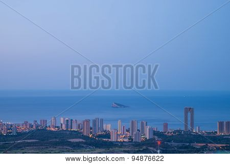 Benidorm Skyline At Dusk
