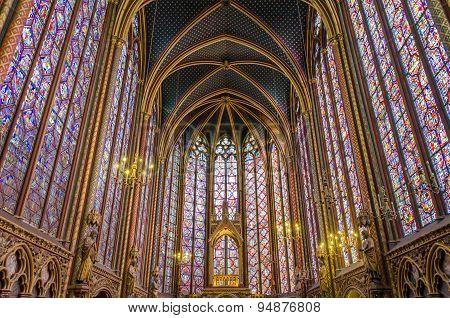 Interior Of The Sainte Chapelle In Paris