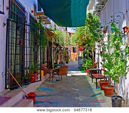 A Digital Painting Of The Back Streets Of Kusadasi Turkey