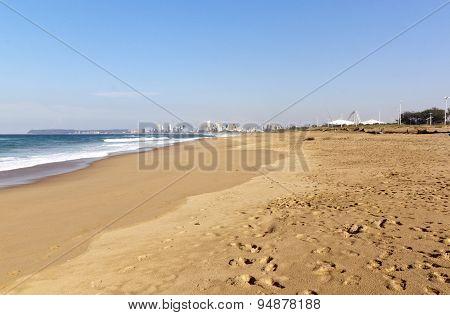 Empty Blue Lagoon Beach Against Durban City Skyline