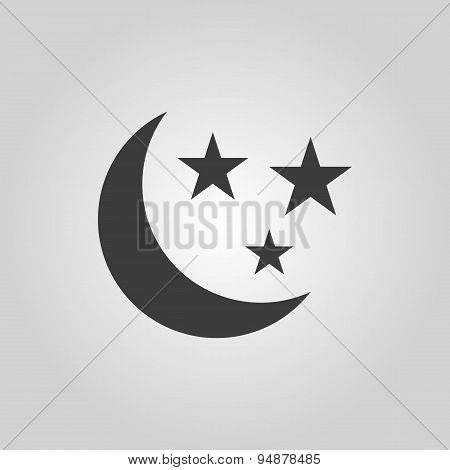 The Moon And Stars Icon. Night, Sleep Symbol. Flat