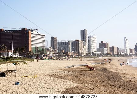 Addington Beach Against City Skyline In Durban, South Africa