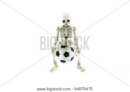 Skeleton  On Soccer Ball Isolated On White Debt Of Football Betting Concept.
