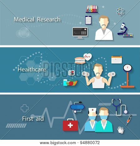 Medical Set With Research Health Care First Aid Symbols Isolated. Vector