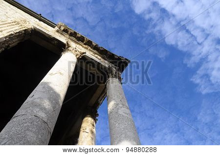 Roman Temple In Pula, Croatia
