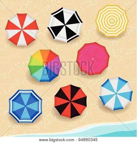 Top View Colorful Pattern color Umbrella on the Beach