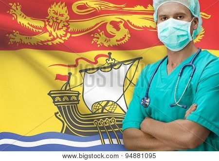 Surgeon With Canadian Province Flag On Background Series - New Brunswick
