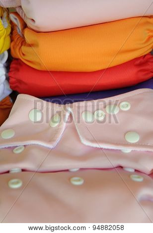 Pink cloth diaper in close up