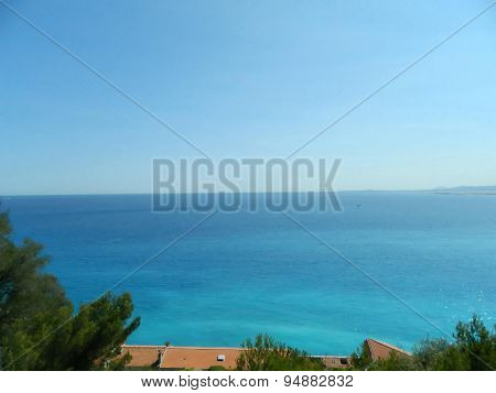 Amazing View Of The mediterranean Sea From Hill In Nice, France.