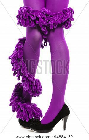 Woman Long Legs And Purple Stockings Isolated