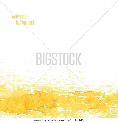 Watercolor background for layout. Vector yellow splashes. eps 10