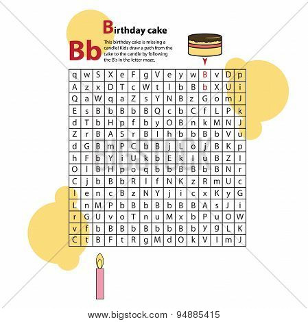 Letter Maze B. This worksheet helps kids recognize and name capital and lowercase letters.
