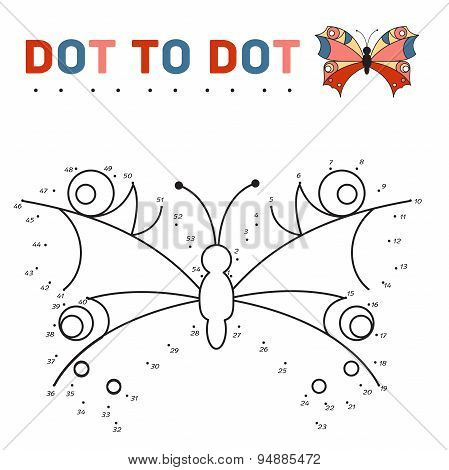 connect the dots and paint a butterfly on a sample. Game for children.