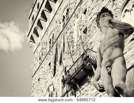 Michelangelo's David In The Piazza Della Signoria In Florence