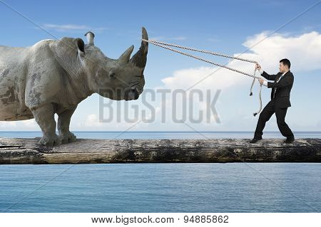 Businessman Pulling Rope Against Rhinoceros Balancing On Tree Trunk