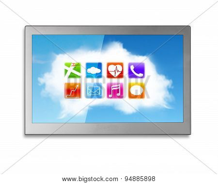 Wide Tv Screen With White Clouds Colorful App Icons