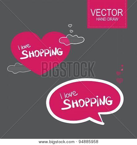 Vector Stiker set . I love shopping
