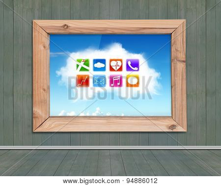 Wood Frame Window With View Of Colorful App Icons Cloud