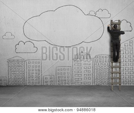 Climbing Businessman Drawing Clouds With Copy Space On Concrete Wall