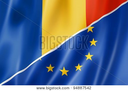 Romania And Europe Flag