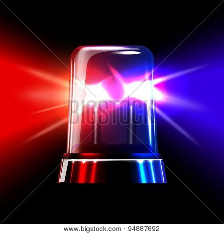 Red and blue emergency flashing siren. Vector