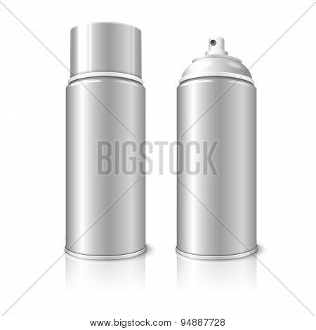 Two realistic, blank vector aerosol spray metal 3D bottle cans - opened and with cap.