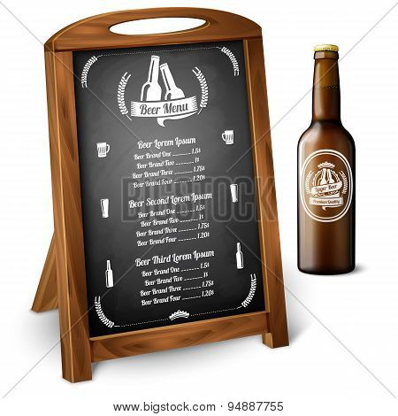 Menu template on chalkboard - for alcohol with realistic brown beer bottle. Vector