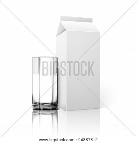 Realistic blank paper package and glass for milk, juice, cocktail etc. Vector