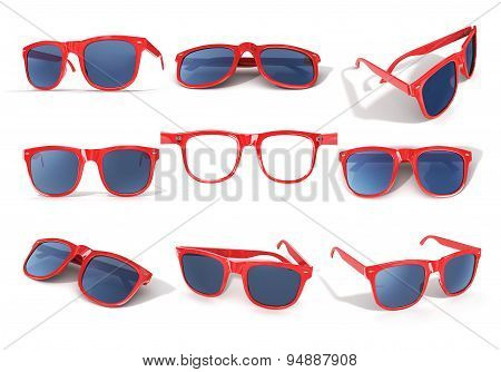 Set Of Red Sun Glass Isolated Over The White Background.